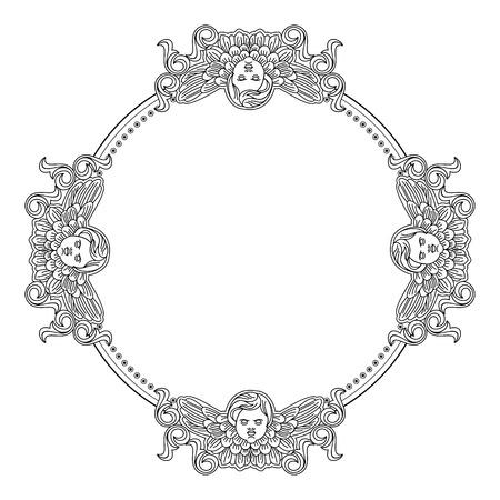 cherub: Round frame with cherub in vintage style. Vector custom element for design artworks.