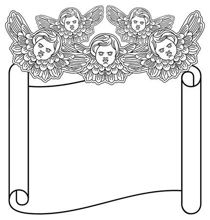 Outline papier tourbillon d'angelots. Vector clip art. Banque d'images - 63717983