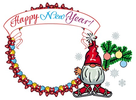 Christmas garland, banner with hand written text Happy New year! and a little gnome in red cap. Design element for holiday decorations, greetings cards and other design artworks. Vector clip art.
