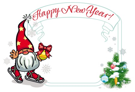 dwarf christmas: Vector frame in shape of Christmas garland with little gnome ice skating. Design element for New Year decorations, greetings cards and other design artworks.