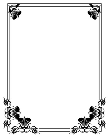 shilouette: Shilouette flower frame. Design element for banners, labels, greeting cards and wedding invitations. Copy space. Vector template.