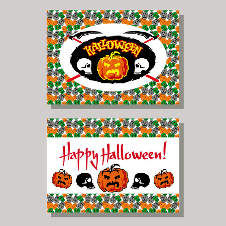 Halloween greeting card with skull. Vector clip art. Illustration
