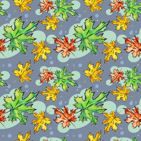 aquarelle: Watercolor seamless pattern with hand drawn maple leaf. Aquarelle textured background. Raster clip art.