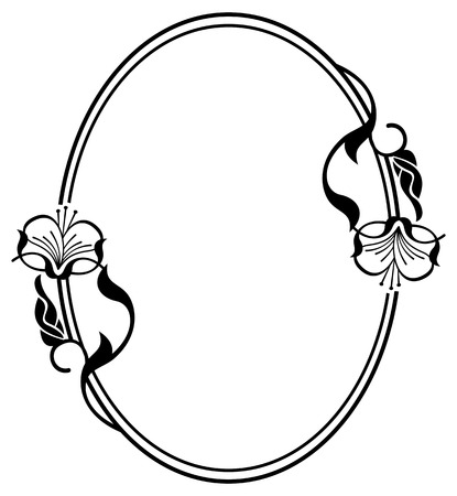 Silhouette flower frame. Simple black and white frame with abstract flowers.Vector clip art.