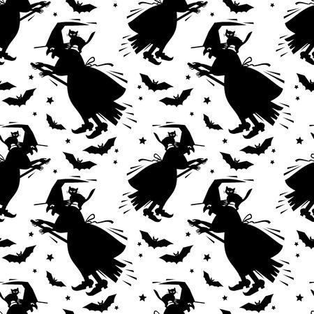 Nahtlose Schwarz-Weiß-Muster Mit Hexe Silhouette. Halloween ...