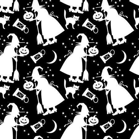 paper spell: Seamless black and white pattern with witch silhouette. Halloween background. Vector clip art. Illustration