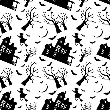 flying witch: Seamless pattern with old house silhouette and flying witch. Halloween background. Vector clip art.