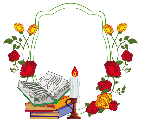 lighted: Color frame with red roses, books and lighted candle. Copy space.Vector clip art.