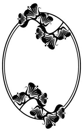 edwardian: Beautiful silhouette frame. Simple black and white oval frame with abstract flowers.Vector clip art. Illustration