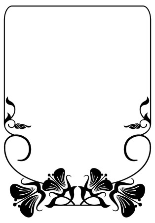 regal: Silhouette flower frame. Simple black and white frame with abstract flowers.Vector clip art.