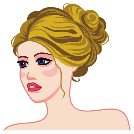 Girl face with bright hair tied a neat bun at the nape. Long hair romantic style.Vector clip art. Illustration
