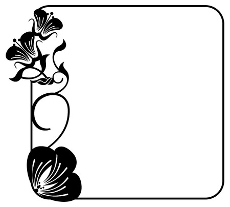 Square silhouette flower frame simple black and white frame square silhouette flower frame simple black and white frame with abstract flowers vector mightylinksfo Choice Image