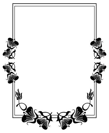Vertical silhouette flower frame simple black and white frame vector vertical silhouette flower frame simple black and white frame with abstract flowersctor clip art mightylinksfo