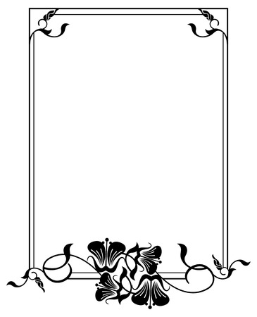 edwardian: Vertical silhouette flower frame. Simple black and white frame with abstract flowers.Vector clip art.