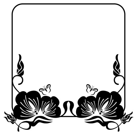edwardian: Square flower silhouette frame with free space for text or photo. Vector clip art. Illustration