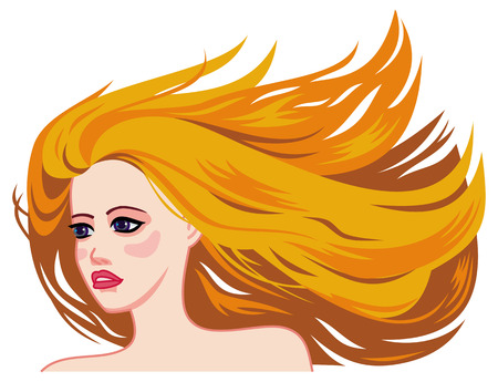 red hair beauty: Girl  with long red hair, blowing in the wind, hairstyles, beauty. Vector clip art.
