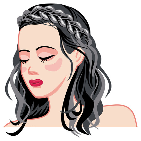 Young girl with long dark hair and a braid. Long hair romantic style.Vector clip art.