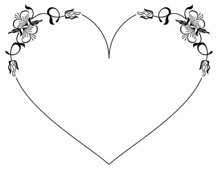 silueta del marco en forma de corazón con las flores decorativas. Clip art.