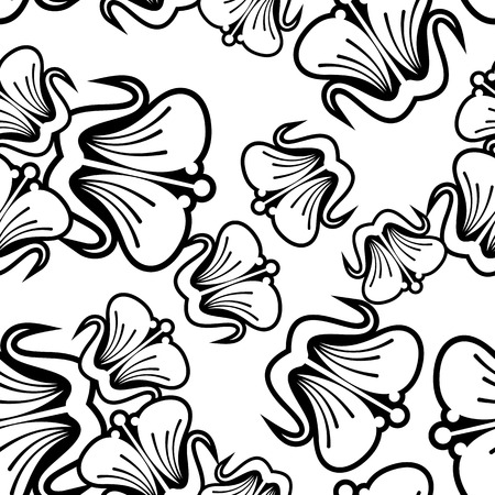 balck: Seamless balck and white pattern with beautiful flowers silhouettes. Design element for advertisements, flyer, web, invitations or greeting cards.Vector clip art.