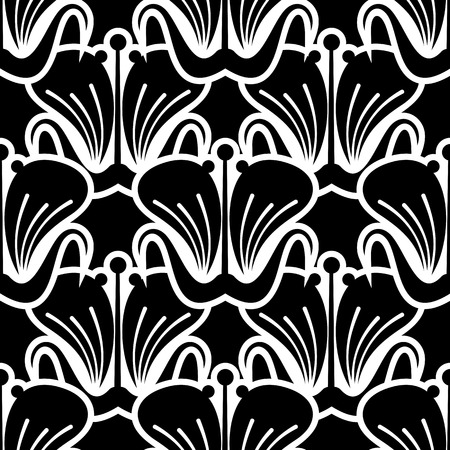 Seamless balck and white pattern with beautiful flowers silhouettes. Design element for advertisements, flyer, web, invitations or greeting cards.Vector clip art.