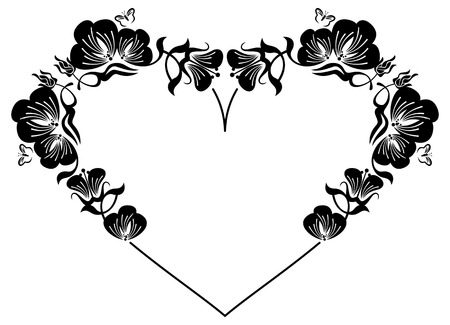 Heart-shaped silhouette frame with decorative flowers. Design element for advertisements, flyer, web, wedding and other invitations or greeting cards.Vector clip art. Illustration
