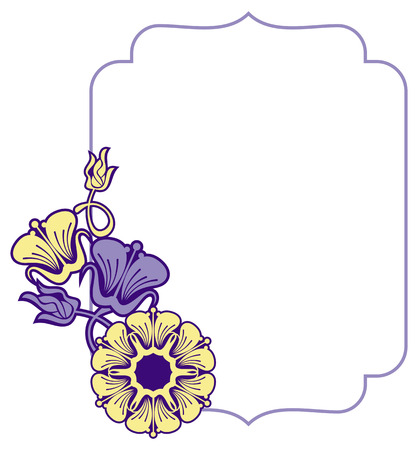 embossing: Beautiful frame with blue and yellow  flowers. Design element for advertisements, flyer, web, wedding, invitations and greeting cards. Vector clip art.
