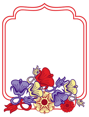 Beautiful frame with blue and red flowers. Design element for advertisements, flyer, web, wedding, invitations and greeting cards. Vector clip art.