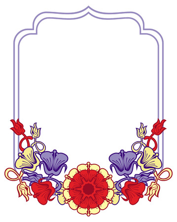 embossing: Beautiful frame with blue and red flowers. Design element for advertisements, flyer, web, wedding, invitations and greeting cards. Vector clip art.