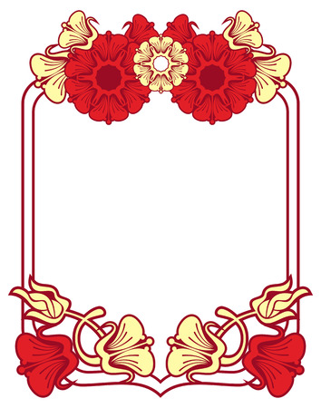 embossing: Beautiful frame with red and yellow  flowers. Design element for advertisements, flyer, web, wedding, invitations and greeting cards. Vector clip art. Illustration