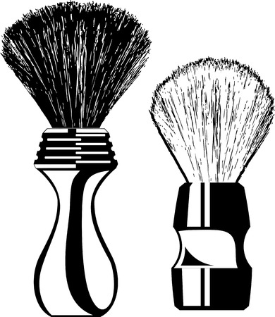Two contour shaving brushes isolated on a white background. Vector clip art.