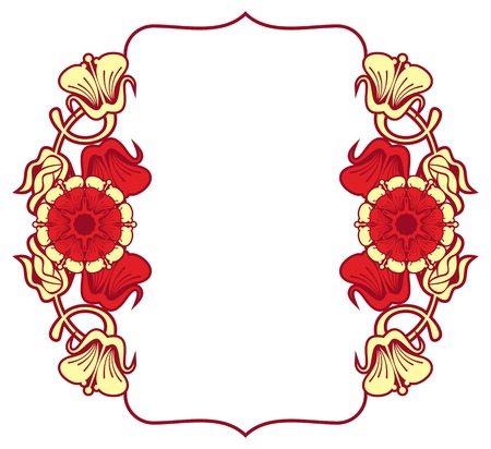 Beautiful frame with red flowers. Design element for advertisements, flyer, web, wedding, invitations and greeting cards. Vector clip art.