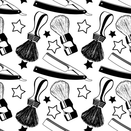 male grooming: Straight razors and shaving brushes. Seamless pattern with shaving tools. Vector clip art.