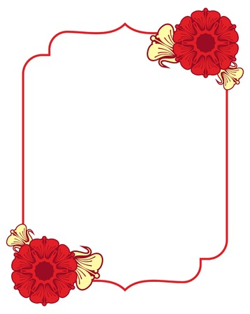 Beautiful frame with abstract flowers. Design element for advertisements, flyer, web, wedding, invitations and greeting cards. Vector clip art.