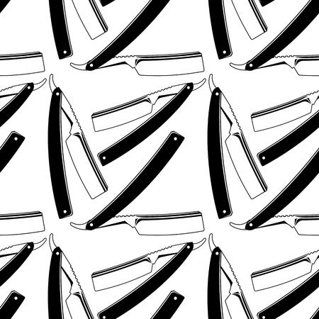 straight razor: Straight razors and shaving brushes. Seamless pattern with shaving tools. Vector clip art.