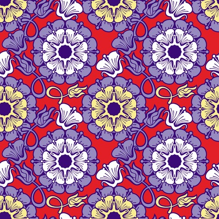 allover: Beautiful seamless floral pattern. Abstract flowers silhouettes. Vector clip art. Illustration