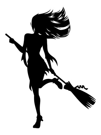 Girl with a broom in witch costume. Halloween witch silhouette. Vector clip art.