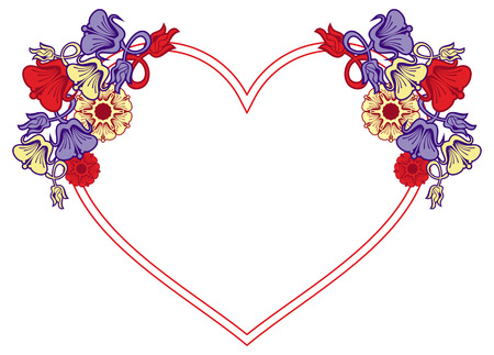 vector element: Heart-shaped frame with decorative flowers. Design element for advertisements, flyer, web, wedding, invitations and greeting cards. Vector clip art. Illustration