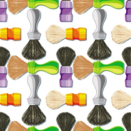 Seamless pattern with shave brush. Vector clip art. Illustration