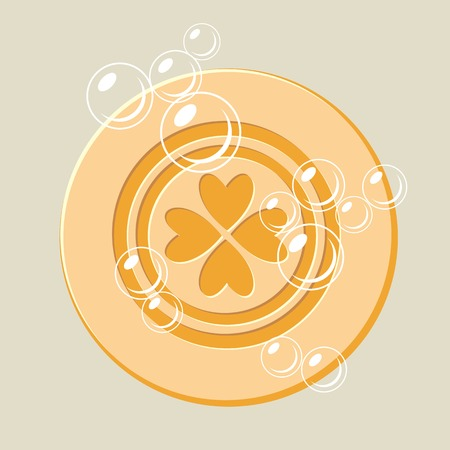 Round soap with bubbles. Shaving soap, cosmetic soap. Vector clip art.