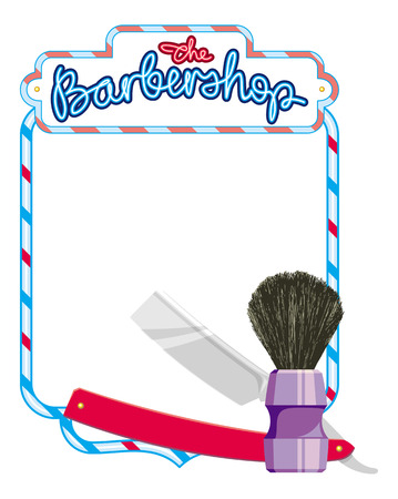 shaving brush: Frame with shaving equipment and hand-written sign The Barbershop. Straight razor, shaving brush, soap. Copy space. Vector clip art. Illustration