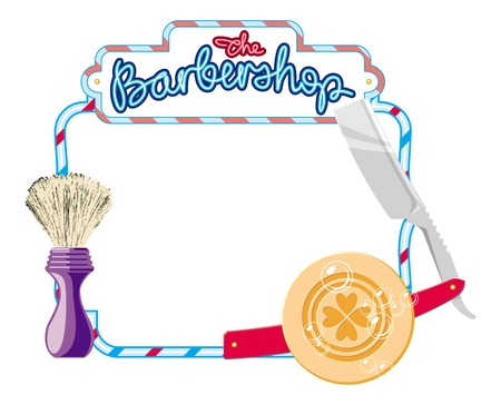 Frame with shaving equipment and hand-written sign The Barbershop. Straight razor, shaving brush, soap. Copy space. Vector clip art. Illustration