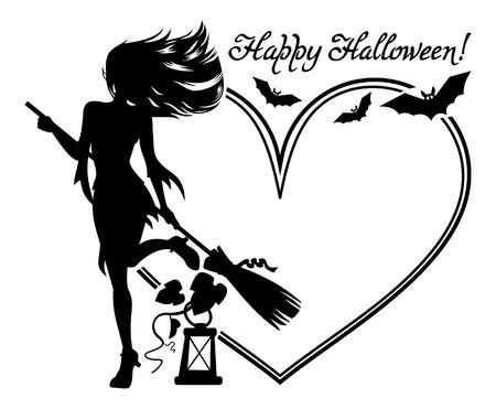 Stock Vector Illustration:Heart-shaped frame with girl silhouette. Vector clip art.