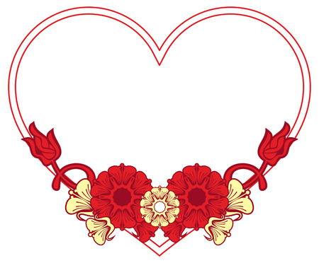 heartshaped: Heart-shaped frame with decorative flowers. Design element for advertisements, flyer, web, wedding, invitations and greeting cards. Vector clip art. Illustration