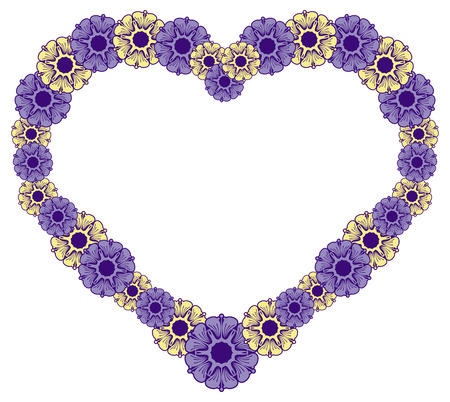 Heart-shaped frame with decorative flowers. Design element for advertisements, flyer, web, wedding, invitations and greeting cards. Vector clip art. Illustration