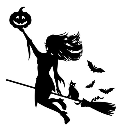 Silhouette of a witch flying on broom with black cat and Halloween pumpkin.Vector clip art.