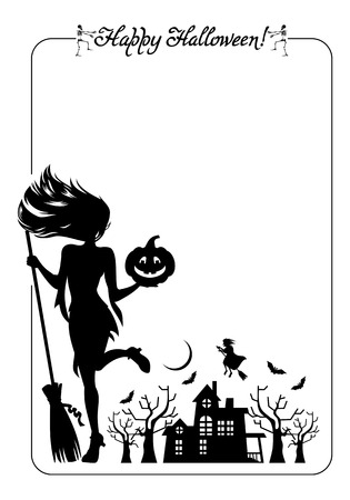 enchantment: Silhouette of a young girl in the witch costume and holiday greeting Happy Halloween!. Halloween background. Vector clip art.