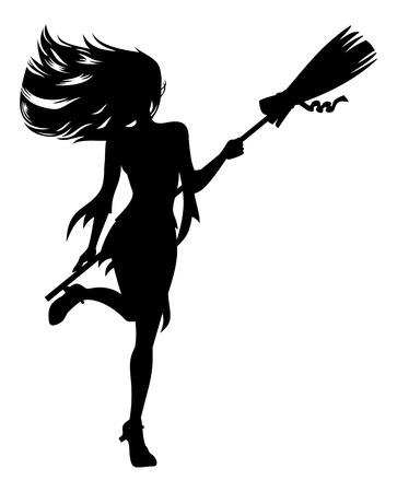 Ragazza con una scopa in costume da strega. Halloween silhouette strega. Vector clip art.