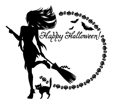 Round frame with silhouette of a young girl in the witch costume, black cat, bats  and holiday greeting Happy Halloween!. Vector clip art.