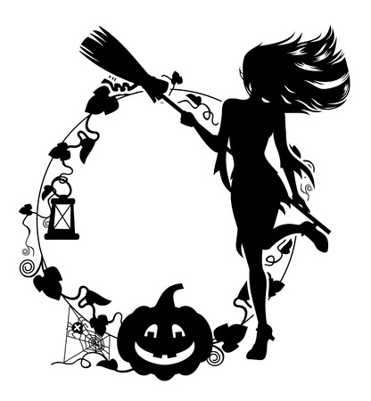 of helloween: Silhouette of a young girl in the witch costume Vector clip art.