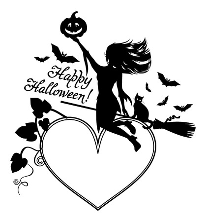 enchantment: Heart-shaped frame with girl silhouette. Halloween background. Witch, bats, broom, pumpkin. Vector clip art. Illustration